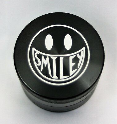 "4 Piece Magnetic 2.125"" Black Tobacco Herb Spice Grinder Aluminum Smiley face"