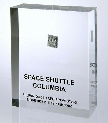 Space Shuttle STS-5 Columbia 'Flown Duct Tape Mission Fragment' in Acrylic Block