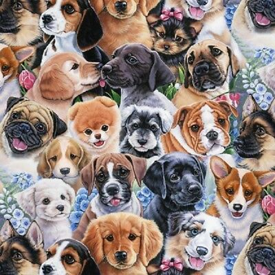 Dogs Happy Puppies Country Life  David Textiles Cotton Quilt Fabric 1/2 YARD