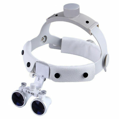 Dental 3.5X420mm Surgical Medical Binocular Leather Headband Loupes DY-108 White