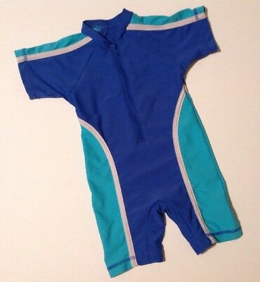 Matalan Baby Boys All in One Wetsuit 18-24 Months Blue White Short Sleeve Zip Up