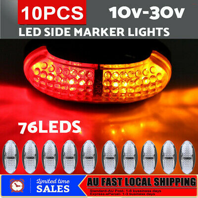 10Pcs LED CLEARANCE LIGHTS SIDE MARKER LAMP RED AMBER TRAILER TRUCK 10-30V DC AU