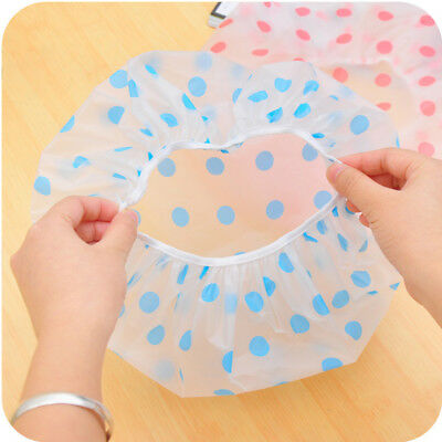 Women Reusable Waterproof Plastic Shower Cap Bathing Salon Hair Washable Hat