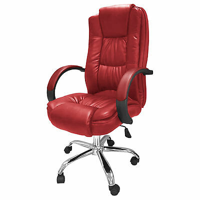 Red Santana Office Chair Business Faux Leather swivel executive computer B39