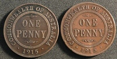 1915H And 1915 Australian Pennies Fine Condition Tidy Coins