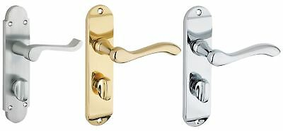 Traditional Brass Bathroom Door Handles in Three Finishes - Short Back Plate