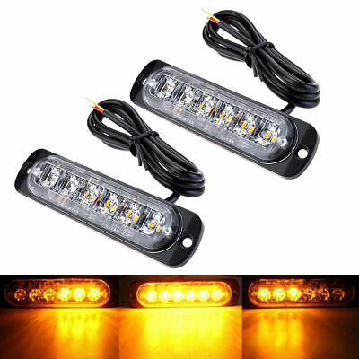 12-24V 2X Flashing Warning Recovery Vehicle Beacon Amber 6 Leds Strobe Lighting