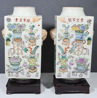 Antique A Pair Chinese Porcelain Cong Foem Vase With Figures 19Th Red Seal Mark