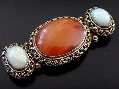 Late 19th ANTIQUE QING DYNASTY CHINESE CHINA GILT BRONZE BELT BUCKLE HOOK JADE