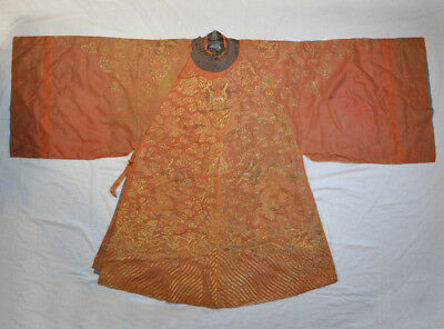 LATE 18th ANTIQUE CHINESE EMBROIDERY ORANGE SUMMER ROBE QING DYNASTY DRAGON