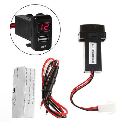 DC 12V USB Interface Socket Car Cell Phone Charger Voltage Meter For Mitsubishi