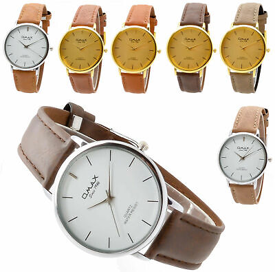 Mens Classic Round Quartz Brown Leather Strap Dress Omax Swiss Watch Gold Silver