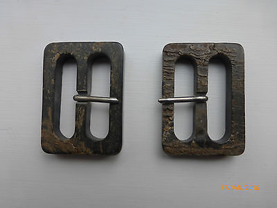 2 Genuine Real Horn Pronged Buckles. 38mm (1.5 inch) Brown.