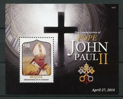 Bequia Gren St Vincent 2014 MNH Canonization Pope John Paul II 1v S/S I Stamps