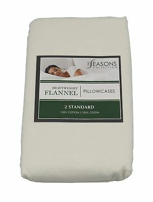 The Seasons Collection 2-Heavyweight Flannel Standard Pillowcases, Ivory