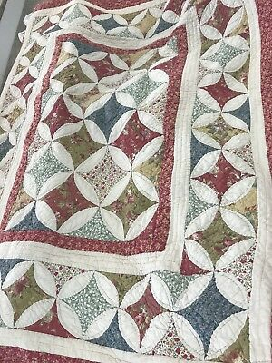 pair of twin size LL Bean quilted pattern comforters with 2 pillow shams