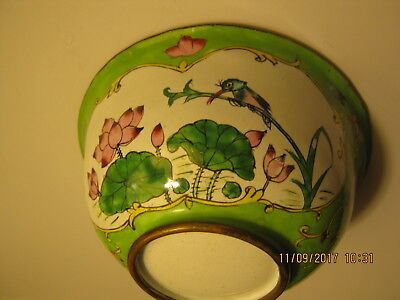 Small Chinese Enamel Bowl ~ Green Floral / Butterfly / Bird ~ Vintage