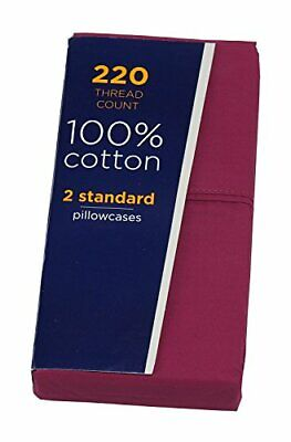 Liberty 220 Thread Count 100%-Cotton 2-Standard Pillowcases, Fuchsia Red