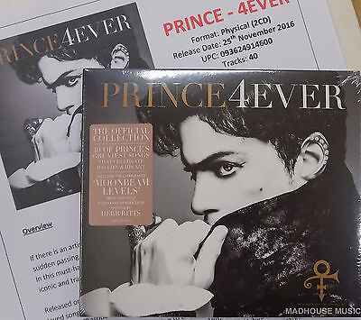 PRINCE 4EVER  CD x 2 SET Greatest Hits / Very Best Of + Promo Sheet Moonbeam NEW