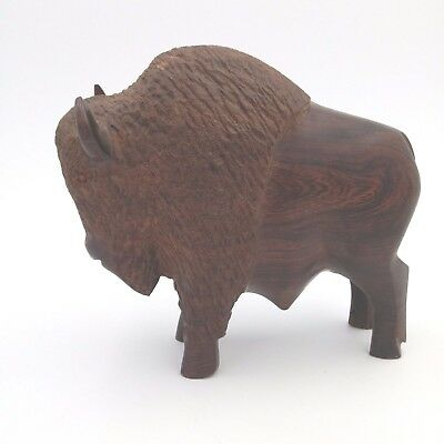 "Vintage Ironwood Hand Carved Buffalo ~ 9"" Tall x 9"" Length"