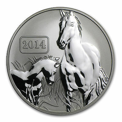 2014 Tokelau - Lunar Year Of The Horse Boxed - 1Oz Reverse Proof W/ Gift Box