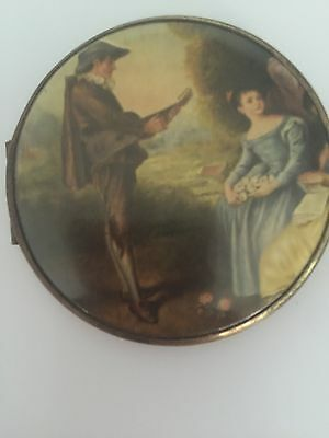 """Gorgeous Vintage Double Mirror Compact Victorian Scene 3"""" Round Very Nice Cond."""