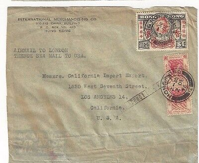 1946 Hong Kong China, Commercial to Los Angeles CA, Airmail to London Only