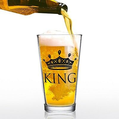 16 oz King Beer Pint Glass - Man Gift for Him - Present for Dad, Brother, Unc...