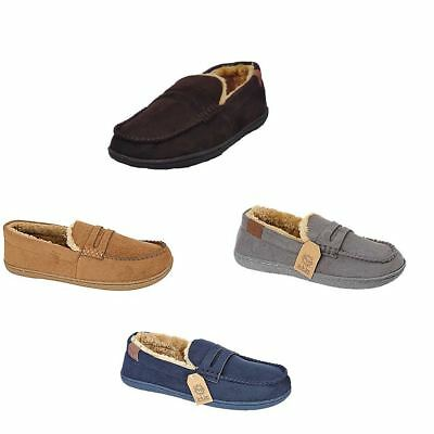 Mens Slippers Moccasins Loafers Faux Suede Sheepskin Fur Lined Winter Shoes New