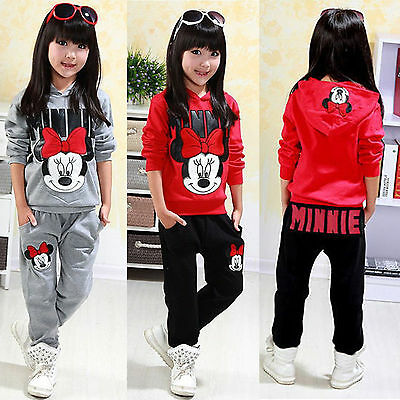 Minnie Mouse Hoodie Tracksuit 2Pcs Kids Girls Hooded Sweatshirt Tops Pants Set