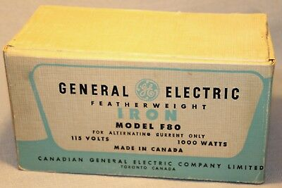Vintage General Electric Featherweight Iron Model F80 In Original Box +