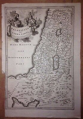 Palestina Israel Liban Egypt 1773 By Cellarius Antique Copper Engraved Map