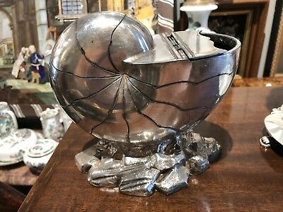 Large Antique 19th C Silver Plated ENGLISH Sheffield Nautilus SHELL Spoon Warmer