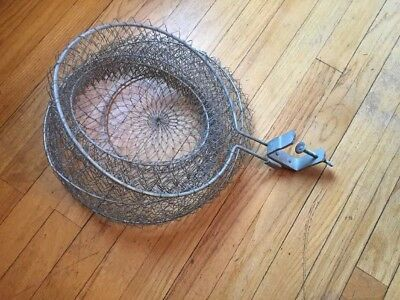 Vintage Galvanized Large wired fish Basket keeper. Collapsible, Boat Clamp