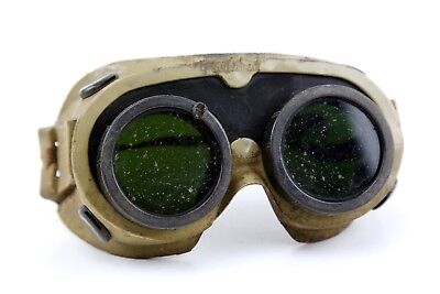 Vintage 1968 Sellstrom Safety Welding Glasses Goggles Steampunk Old Green Lens