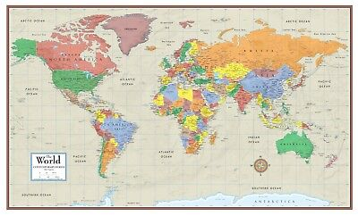 World Contemporary Elite Wall Map Mural Poster: Paper, Laminated or Framed new