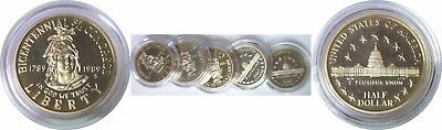 5 Coin Lot 1989-S Congressional Proof Comm. Half Dollars Mint Capsule Only