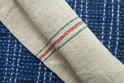Antique European Hemp Grain Sack Gorgeous Christmas Red and Green Stripes