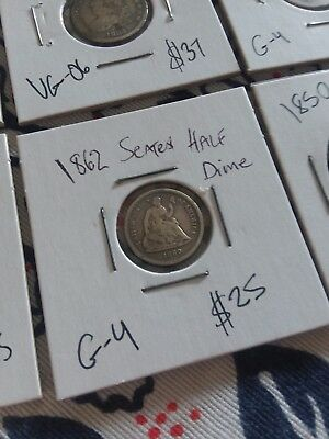 lot of six u.s. 1800s coinage GOOD CONDITION AND UP reduced price