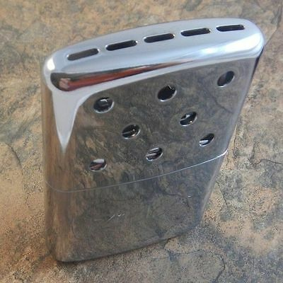 ZIPPO Chrome Finish 6 Hour Pocket HAND WARMER Filler Cup + Warming Bag! 40321