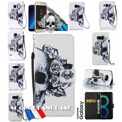 Etui coque housse porte cartes Skull Stand Wallet case cover pour Samsung Galaxy