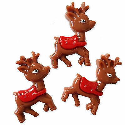 3pcs Christmas Reindeer Resin Flatback Cabochon Embellishment Scrapbooking Craft
