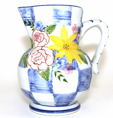 Andrea By Sadek Pitcher Hand Painted Yellow Sunflower Pink Rose Blue Checkered