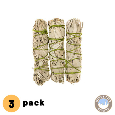 "3 pack CALIFORNIA MINI WHITE SAGE SMUDGE 4"" TO 6"" BUNDLE"