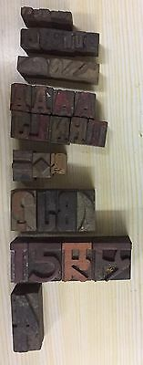 31 piece Vintage Letter Press Wooden Type Printing Blocks mix Size Used #55108