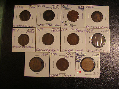 11 Different Great Britain Half Pennies United Kingdom WE COMBINE ON SHIPPING