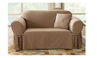 Sure Fit Cotton Duck Sofa Slipcover For Box Cushion Seat Style In Cocoa 1 Piece