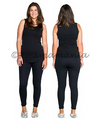 Thermals Ladies 2 Piece Set 100% Pure Cotton Thermal Singlet & Long Johns Black