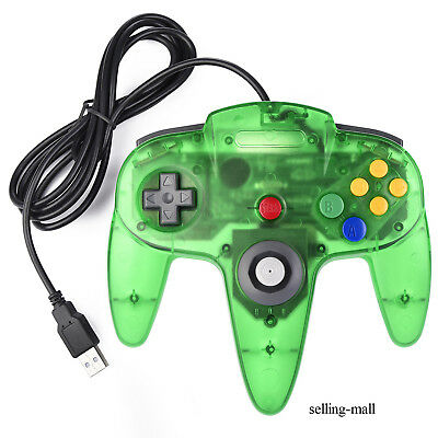 Classic N64 USB Controller Joystick Wired 64-Bit For PC Windows and MAC OS Green
