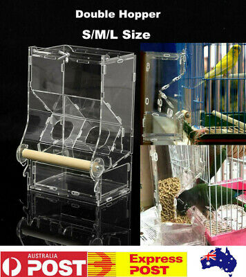 Clear Acrylic Bird Automatic Cage Feeder Pet Parrot Finches Double Hopper S/M/L